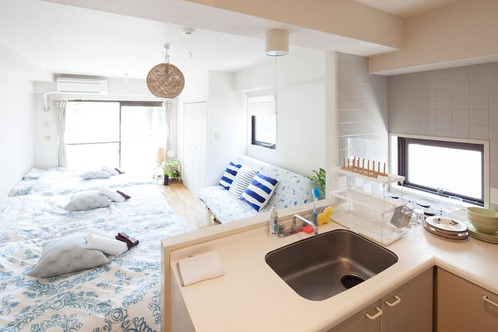 NEW! Shinjuku 2 min for max 7people with Wifi Free - Shibuya-ku - Lägenhet