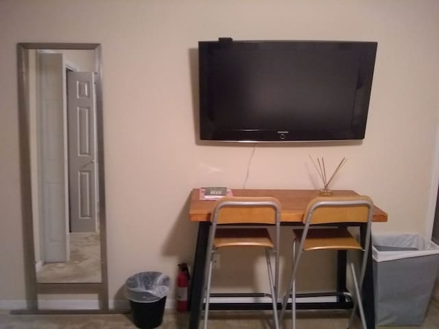 Huge tv with Roku so you can access your streaming accounts.