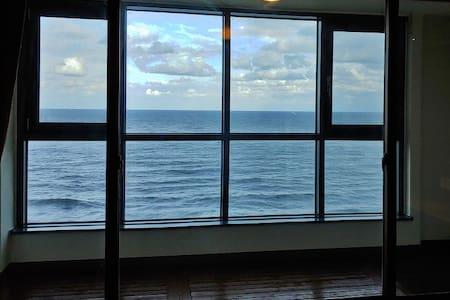 동해바다를 한 눈에 볼 수 있는 전망이 좋은 해변가에서 가장 가까이 있는 곳