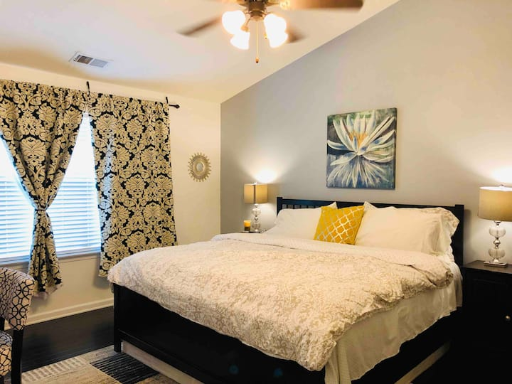 Modern private master bedroom in the Queen City