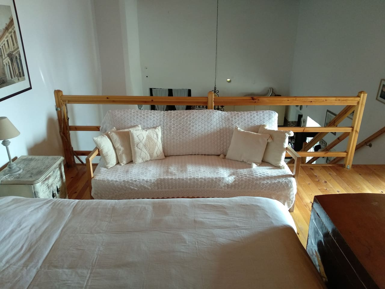 A great loft with a large balkony and a beautifull view