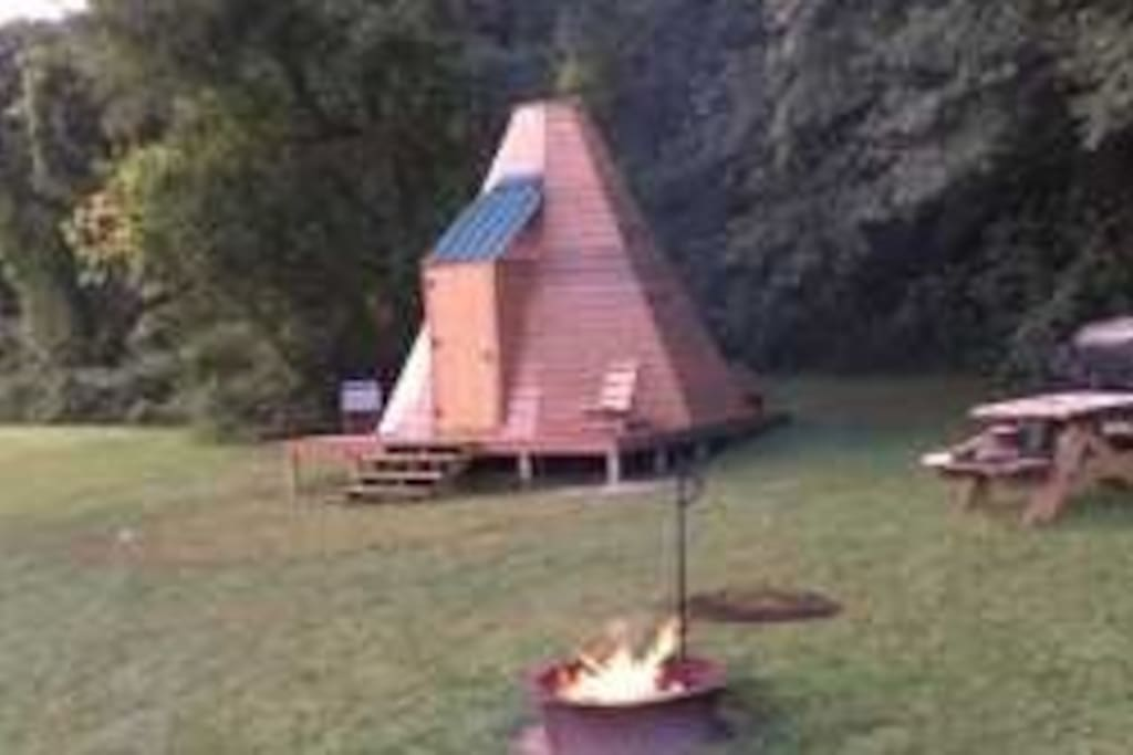 You have your own picnic table and fire ring to cook at!