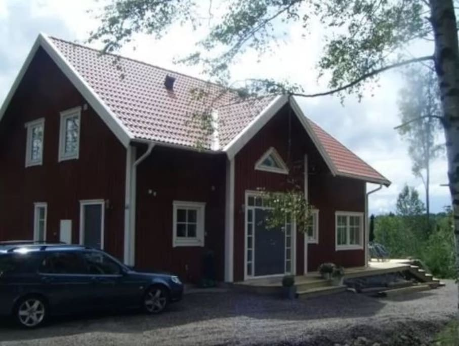 Our classic, red swedish house with two floors, a large terrace. About 170 m2, built 2008.