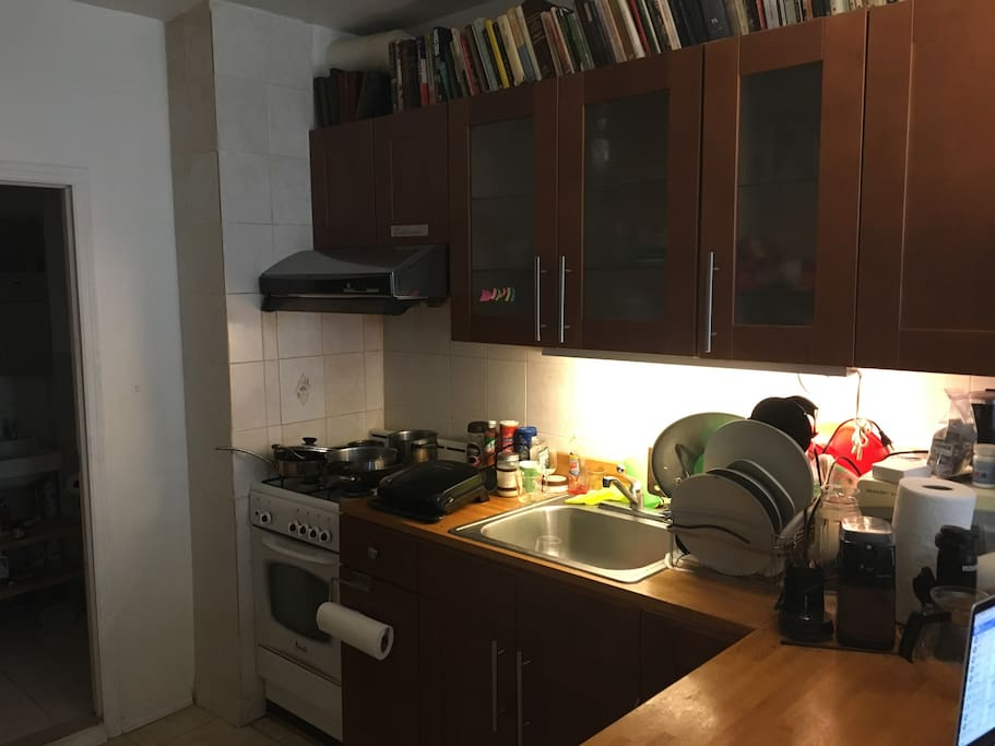 Kitchen (+ a glimpse of the bathroom)