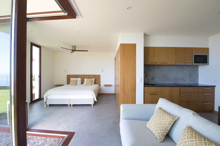 King sized bed, living area with sofa and kitchenette