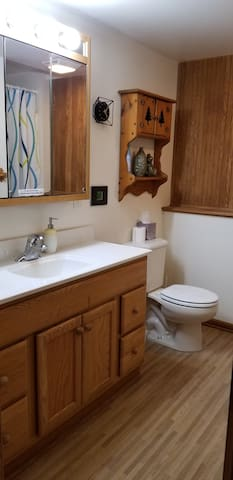 Bathroom with shower.