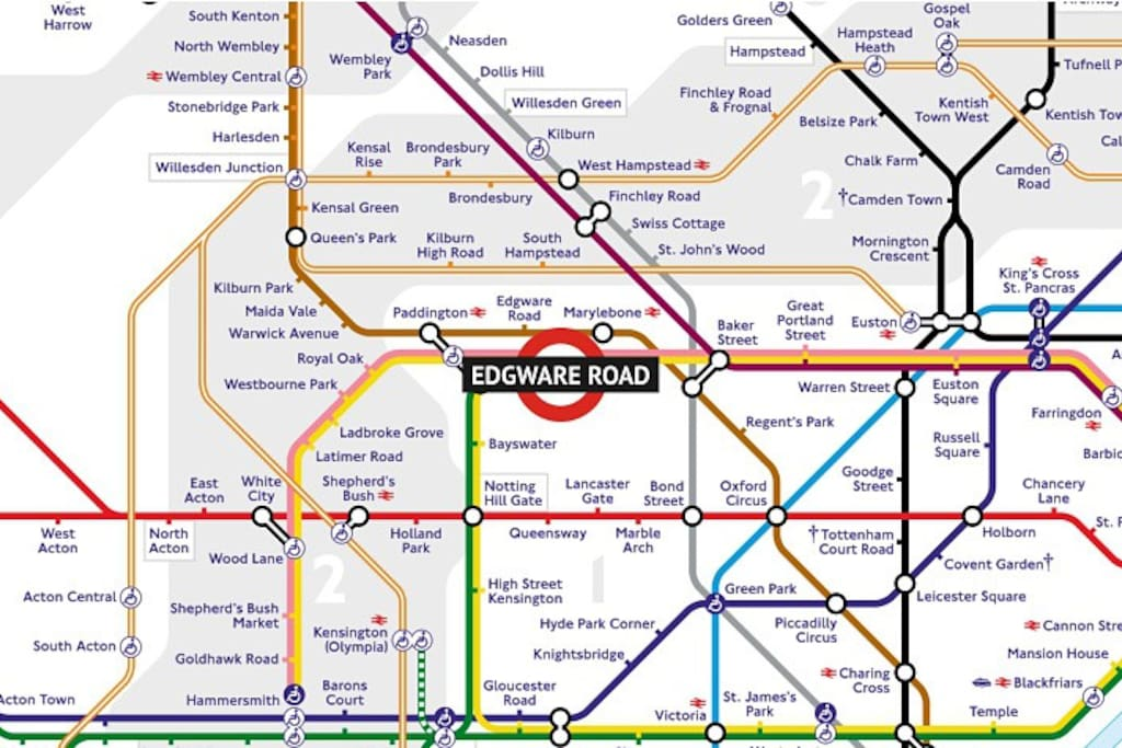 Edgware Road is Zone 1 central London. Walk to station in 1 minute. See all London by foot, bike, bus, underground, taxi from here. A 10-15 minute walk to major attractions.