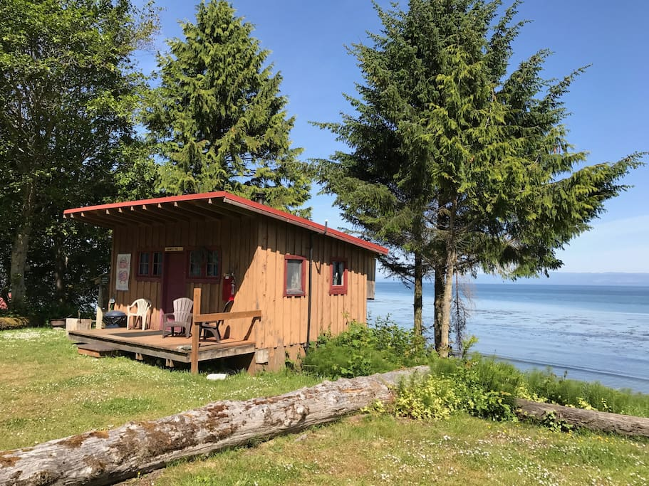 This cabin has an unobstructed view of the Strait and is situated up a slight hill giving a bit more privacy than some other cabins.