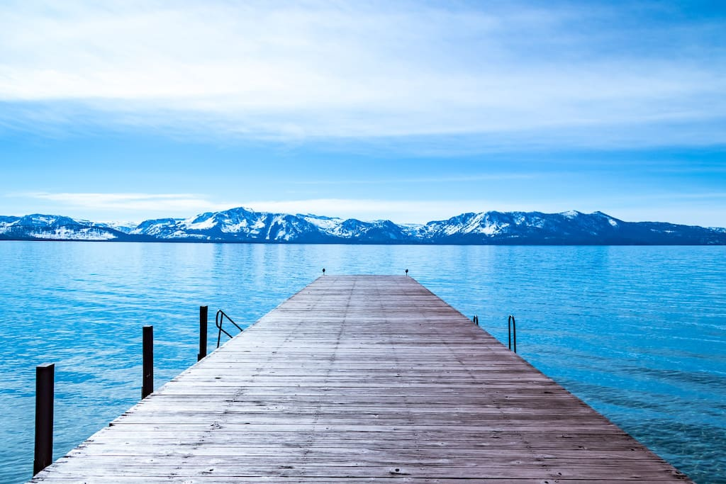 Private beach pier with perfect view of Lake Tahoe