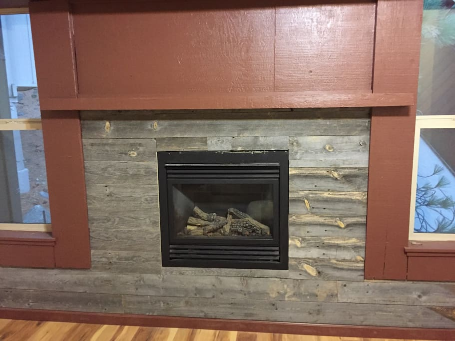 barnwood around fireplace