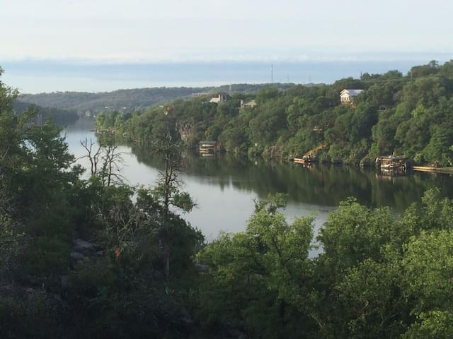 View of Lake Marble Falls from the back patio.