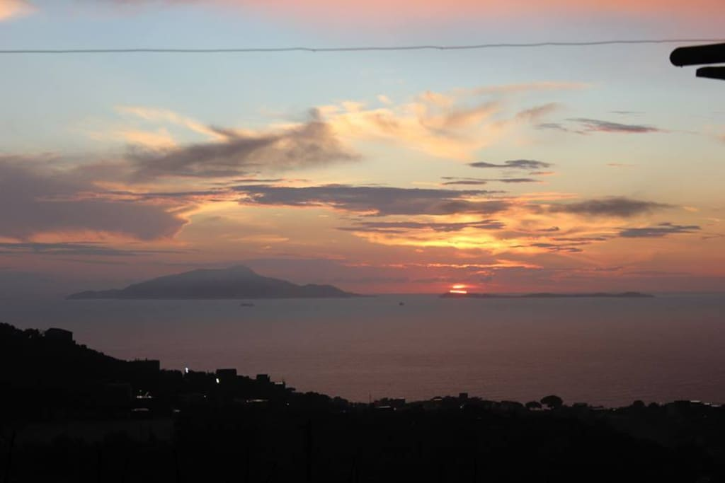 View of the Gulf of Naples and Ischia and Procida islands from the garden