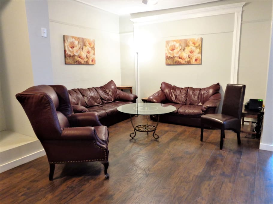 Open living area has plenty of seating, as well as cable TV and free WIFI.