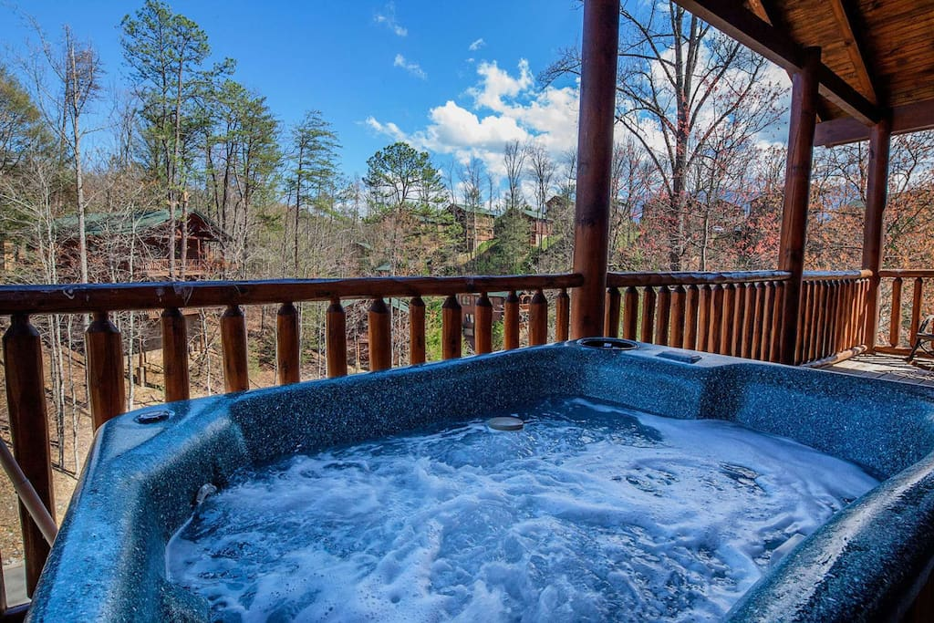 The hottub is located off of the main level balcony, a great escape to just be able to unwind after a long day.
