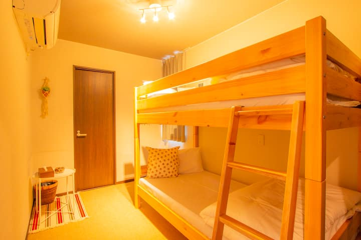 【5 min from Sta,】Lovely twin room with a bank bed
