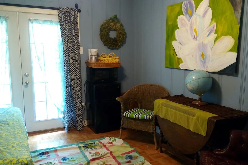 Your own sitting and work area with microwave, refrigerator and coffee maker.
