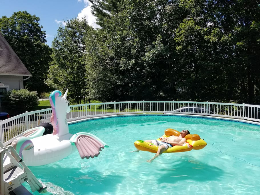 Cool off in the pool with friends and family or relax poolside on our shady deck.