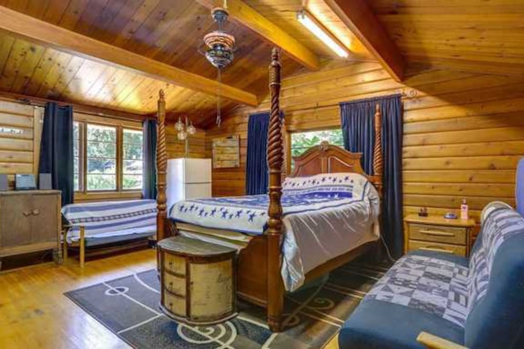 Queen size bed and private bathroom