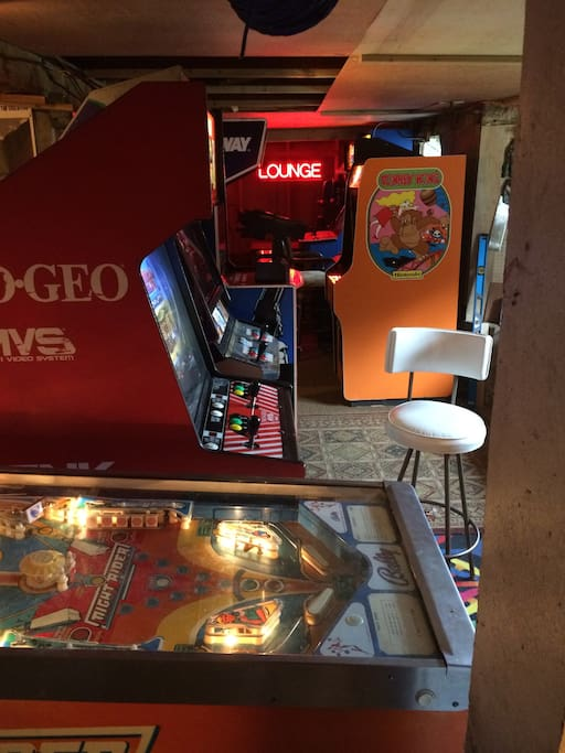 Classic video game arcade in the basement of my home adjacent to the coach, all free play to those who are interested 24 hours a day, no indoor quiet hour!