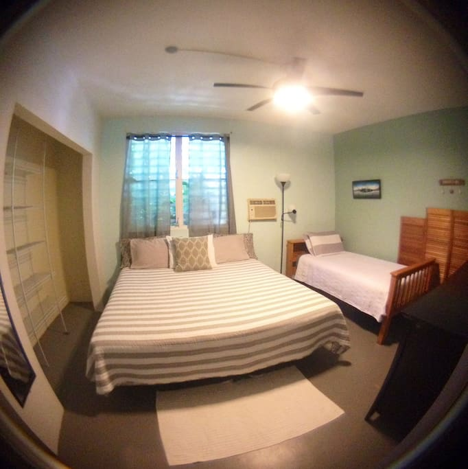 Master Bedroom comes with a king size bed, twin Bed, full size dresser, and a walk In closet.