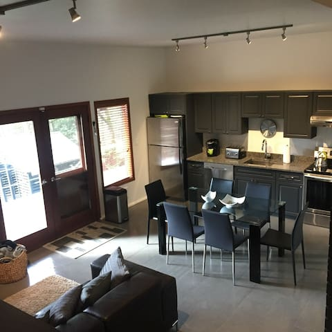 Open concept living, dining and kitchen space. Ceiling is over 12' high!