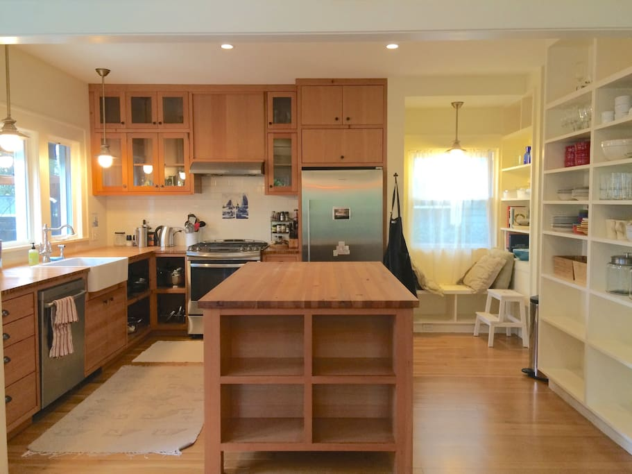 Custom designed kitchen to fit your every need. Every appliance and pot and pan you could ask for.
