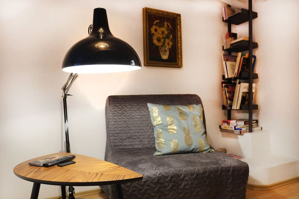 Place for reading, relaxing,.. we provide some books, board games, cards,...