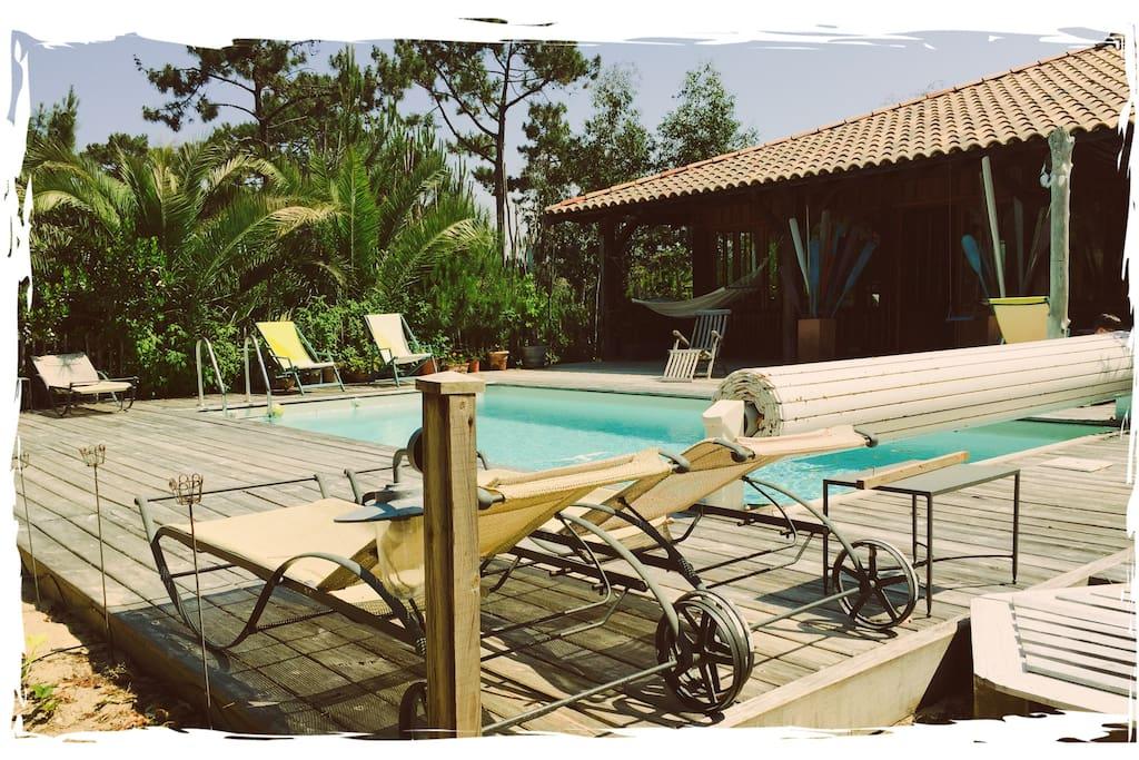 Cabane 36 piscine chauff e maisons louer l ge cap for Maison a louer cap ferret avec piscine