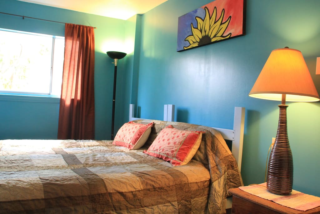 Blue room with king size bed