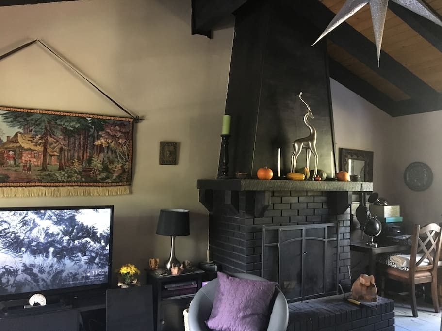 Has a woodburning fireplace.