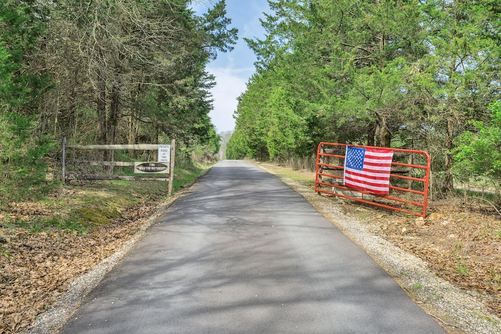 The entrance to the Martin Retreat.  A private 1.2 mile long asphalt road brings you to a little peace of heaven on earth.