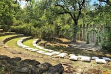 The amphitheatre is ready for the wedding ceremony.