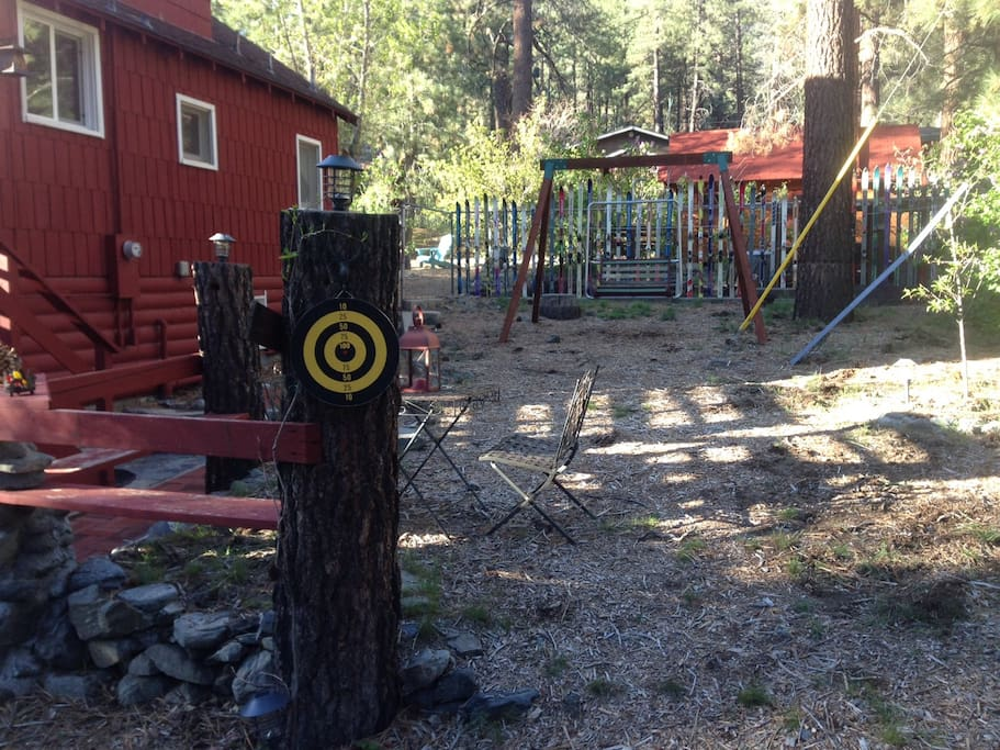Play darts or relax in the ski lift swing