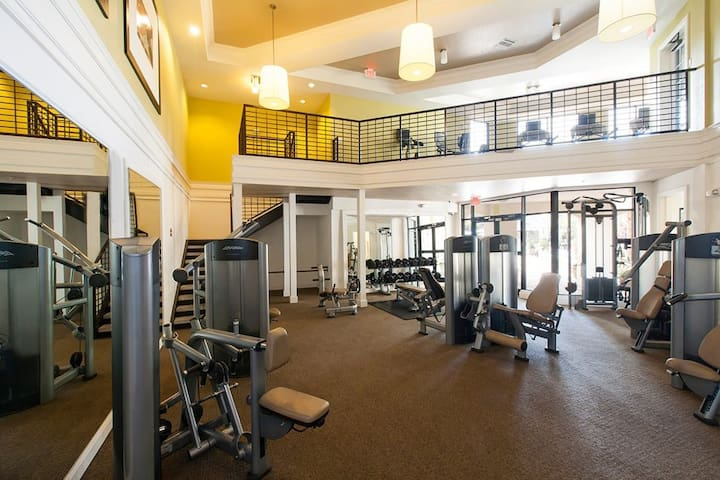 Work off those added vacation pounds with a workout in the 2 story gym, located only a short walk through the pool area.
