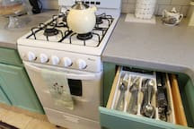 Gas stove and silverware