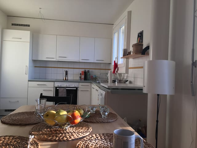 Lovely light, fully equipped kitchen, with Dishwasher / Fridge,  Italian coffee maker (and coffee)