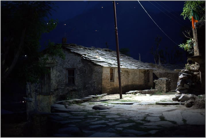 a nearby village house