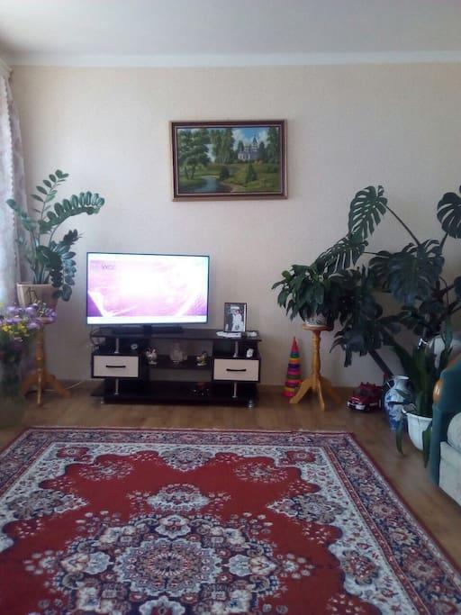 Большая комната оснащена телевизором, есть балкон // The big room has a TV set and  balcony