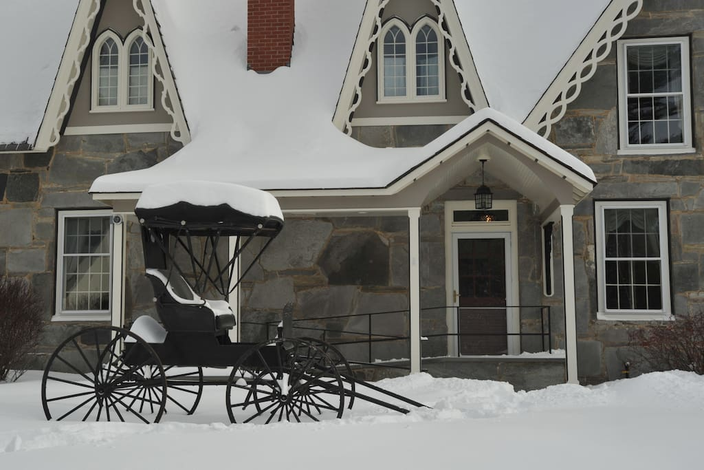 Our lovely carriage representing the original era of the house