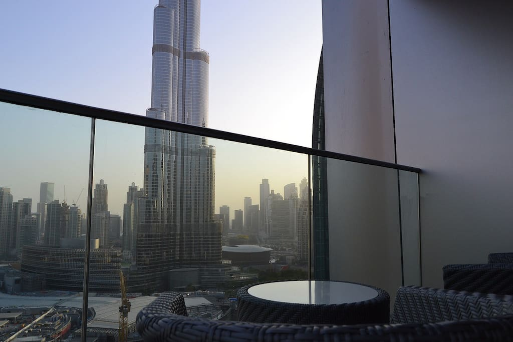 Balcony with Full Burj Khalifa View