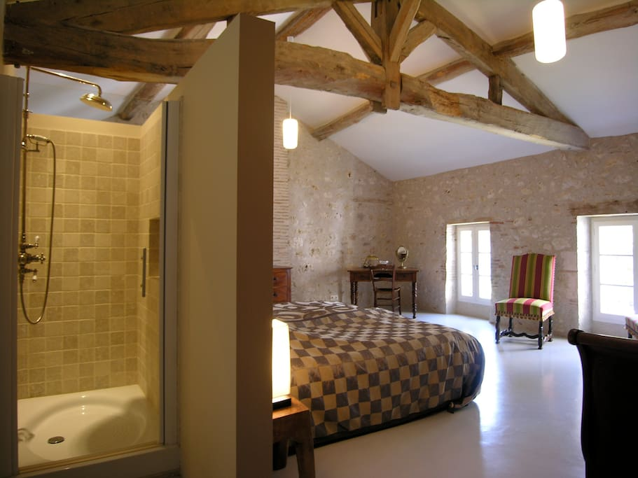 The bedrooms are large an have a private shower and toilet.