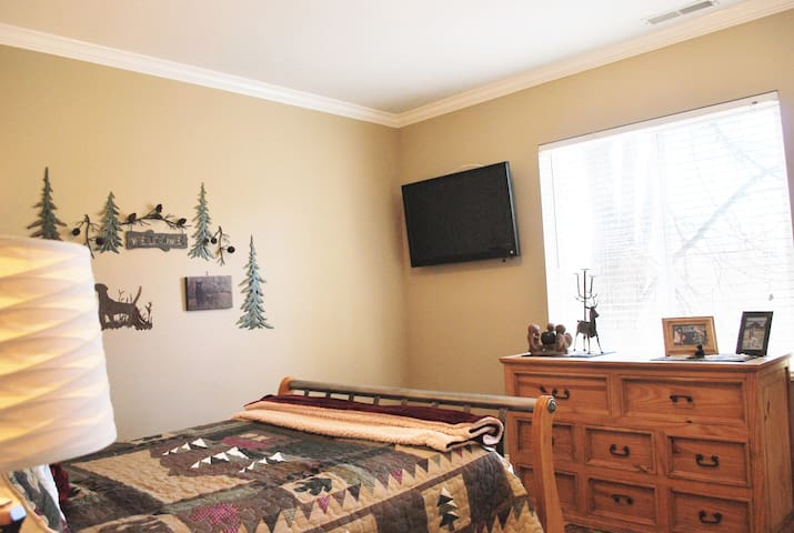 Bedroom 1 has a cabin -  theme with Direct TV & device docking station