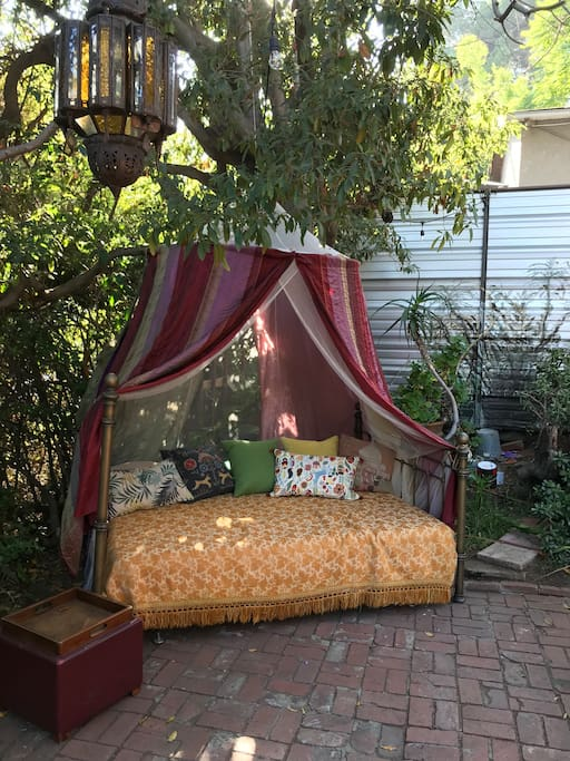 Have a nap in the queen size outdoor Moroccan style bed!