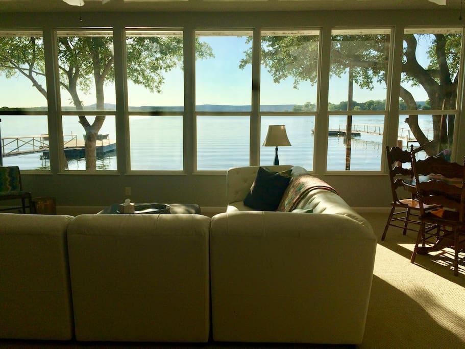 There is a big, beautiful view of the lake from the living room.
