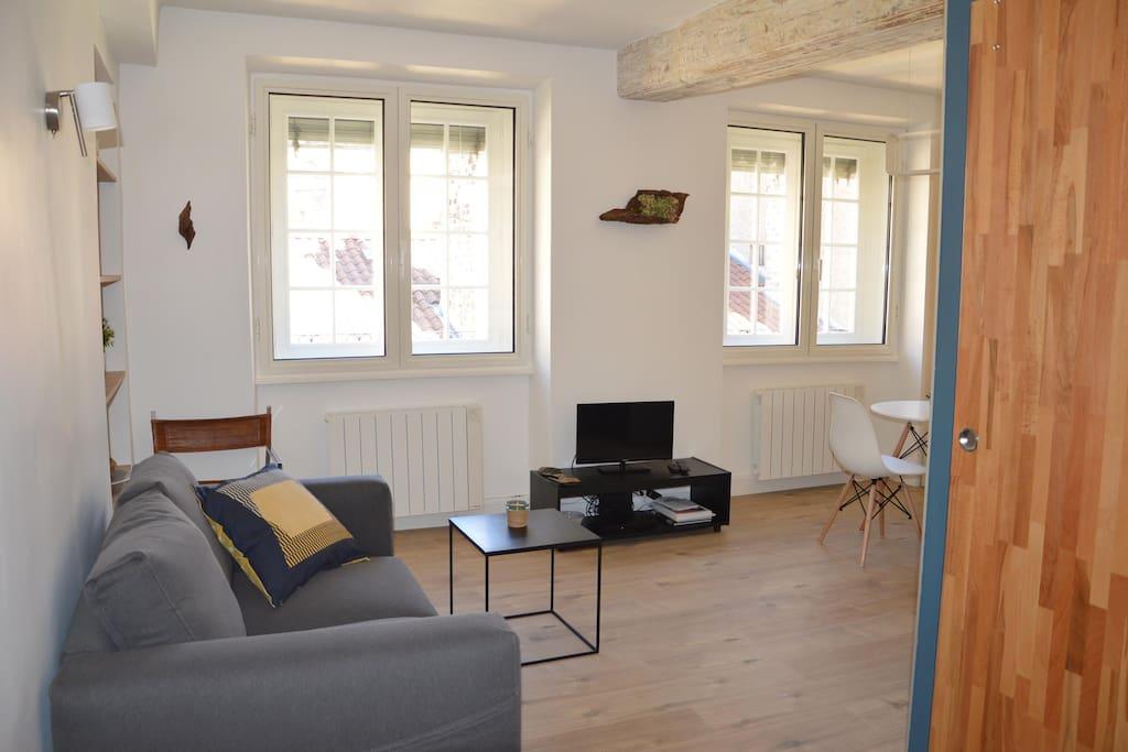 Une pièce à vivre agréable et lumineuse