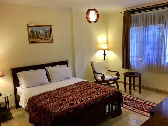 Spacious air conditioned room for you to rest after tiring day.