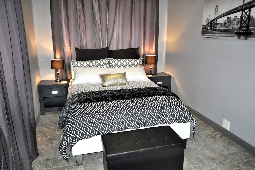 Bedroom with different bedding