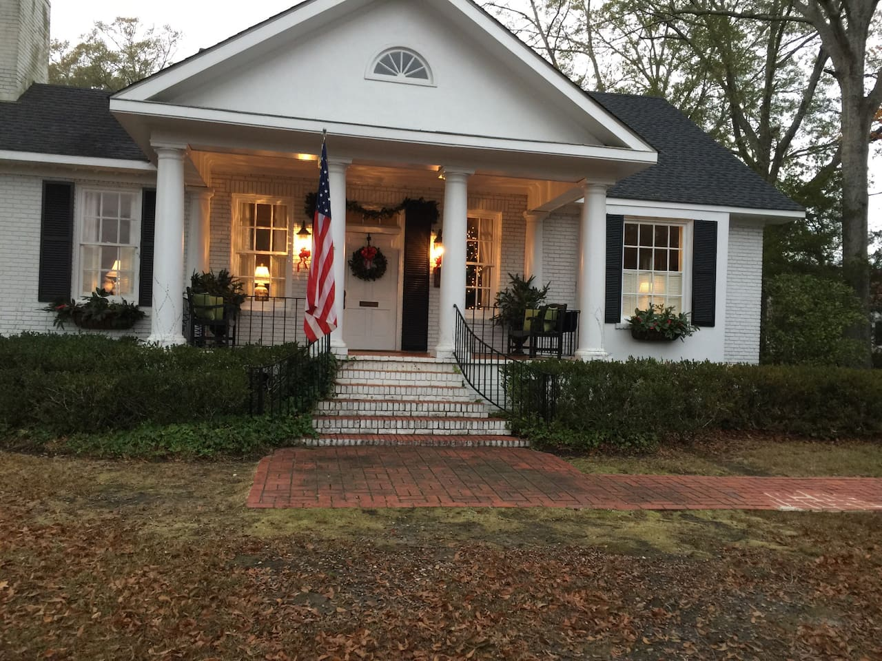 Front of the house at Christmas