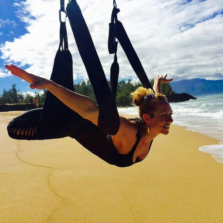 Yoga on the beach has never been so fun