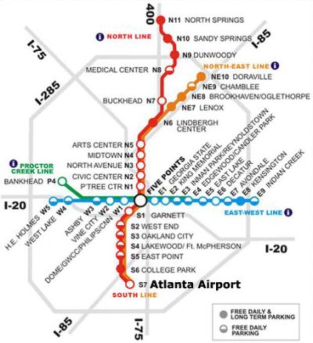 This is a map of the public transportation system Marta. Ashby Station is located on the Blue & Green Line.